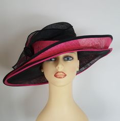 Las Wedding Hat Races Cerise Pink Black Layered Stunning By Marida