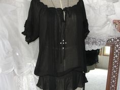 Gypsy boho bohemian black sheer peasant  blouse by SummersBreeze, $39.95