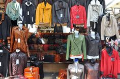 Leather goods at the leather market in Florence Italy