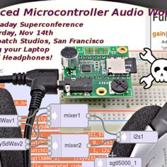 Documentation for the Advanced Micrcontroller Audio Workshop.  All the workshop material is available here.  We even made a full video walkthrough.  Steal This Workshop!  Really, help yourself to the PDF, parts list and other info if you'd like to teach this material at any hackerspace, school, or other group.  Please post a comment if you do, as we'd love to hear about your experience.