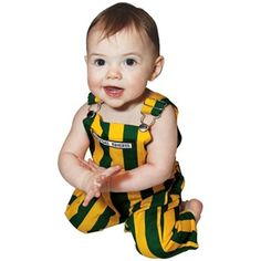 Baby's striped green and gold overalls // Oh my goodness! Obnoxious, maybe, but precious! Maybe for tailgating and/or Homecoming?