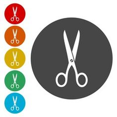 Scissors Icon with Color Variations