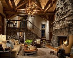 Nothing says cabin like a stone fireplace.
