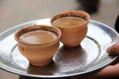 In Kolkata, India, chai is served, not in disposable paper cups, but in clay cups. It's always nice to get a hot cup of chai in a clay cup! Masala Chai, Indian Drinks, The Chai, Chai Recipe, Tea Biscuits, Clay Cup, Indian Food Recipes, Ethnic Recipes, Indian Kitchen