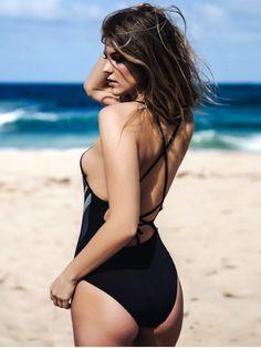 latest Tie Back Printed Swimwear - BLACK M Mobile
