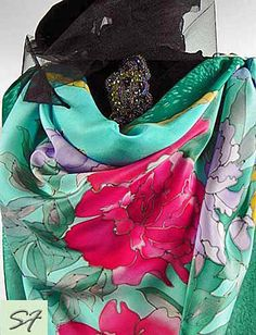 Womens Gift Floral Silk Shawl Hand Paint Square by SilkFantazi
