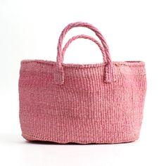 サイザル かごバッグ横長/ピンク カゴバッグ