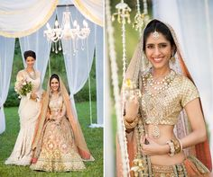 Stunning ivory and peach Sabyasachi lehenga for the bride. love the bridesmaid's saree! And the elegant chandelier/ drapes in the backdrop