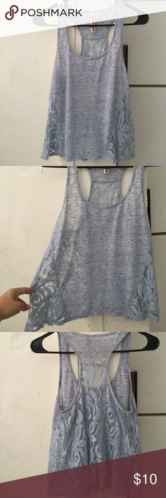 SOLD ON BUNDLE  light blue flowy shirt Flowy light blue muscle shirt , perfect condition the back is all lace and a little from the sides NO HOLES IN LACE Eyeshadow Tops Muscle Tees