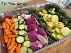 Roasted veggies! EVOO, salt...shake in a ziploc & bake 25 mins at 425 turning once.
