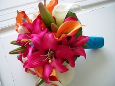 Malibu blue and pink combination. Gorgeous tropical bouquet!