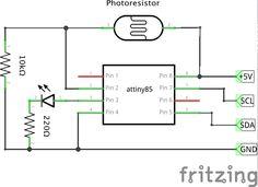 attiny85 i2c slave light sensor with photoresistor