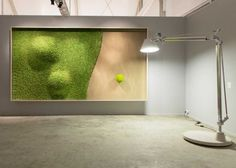 Green Dunes is a large SAG Smart Acoustic Green vegetal picture with an awesome vegetal sculpture depicting dunes. Green Dunes, instead of sandy ones plus an iconic lonely green tree. Green Interior Design, Interior And Exterior, Island Moos, Moss Wall Art, Moss Art, Deco Originale, Wallpaper Magazine, Wall Design, Architecture Design