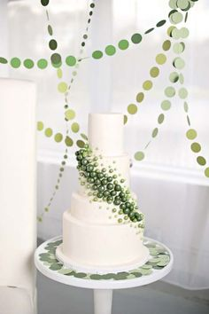 Large Green Ombre Pearls Little Cake