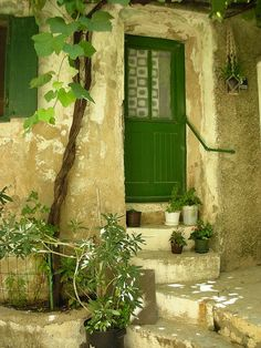 Another green door with a quaint look to it :) Cute.