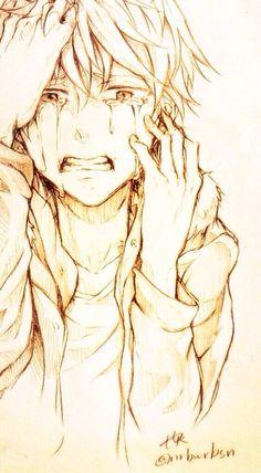 ✮ ANIME ART ✮ anime boy. . .crying. . .sad. . .depressed. . .tears. . .pencil drawing. . .graphite. . .amazing. . .kawaii