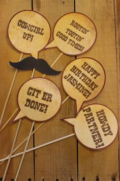 Rustic Cowboy Western Themed Photobooth Props. $12.00, via Etsy.