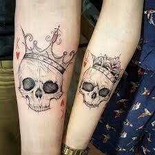 Tatto Skull, Skull Couple Tattoo, Couple Tattoos Love, Sugar Skull Tattoos, Small Skull Tattoo, Tattoo Ink, Key Tattoos, Badass Tattoos, Unique Tattoos