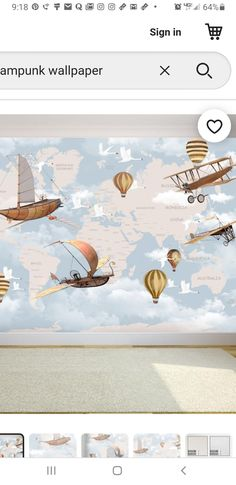 Wallpaper Art, Vintage World Maps, Art Deco