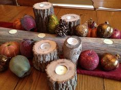 Items similar to Rustic Real Wood Log Candle Holders (Set of on Etsy Log Centerpieces, Christmas Centerpieces, Centerpiece Ideas, Christmas Decorations, Log Candle Holders, Christmas Log, Wood Logs, Real Wood, Warm And Cozy