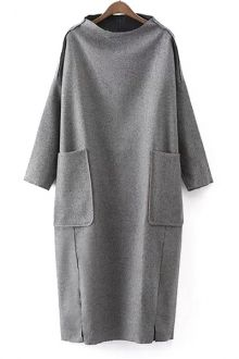 Half-Collar Big Pocket Gray Dress GRAY: Dresses 2015 | ZAFUL http://www.zaful.com/half-collar-big-pocket-gray-dress-p_129689.html?lkid=4806