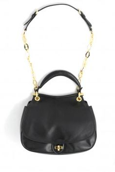 b1c7e7b7284 miu miu pattina bag in black calf leather with bright chain strap with  sophisticated retrò design. The bag is used as handbag or as shoulder bag.