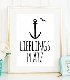 LIEBLINGSPLATZ / Daheim / Zuhause / gemütlich / Anker Typo Kunstdruck / Poster | eBay