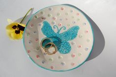 Butterfly ring Dish Ashtray Handmade Pottery by REDceramics