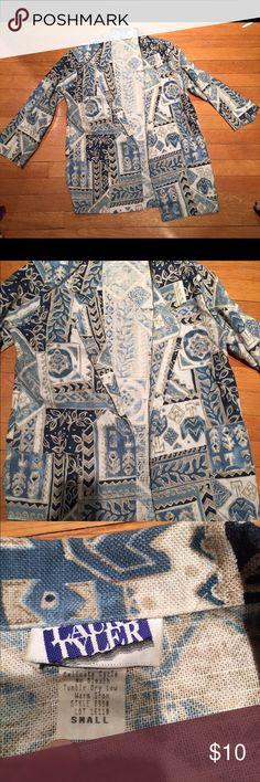 Blazer Light weight beautiful blue/beige print jacket. Hits below hips. laura tyler Jackets & Coats Blazers