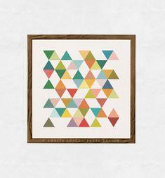 Geometric art print Mid century geometric art Retro by LatteDesign