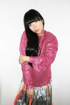 Susie Bubble wearing Blue Roses pink glitter top with Minki Cheng skirt #susielau #stylebubble