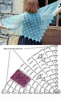 Crochet Shawl Diagram, Granny Square Crochet Pattern, Crochet Chart, Knitting Blogs, Lace Knitting, Crochet Lace, Crochet Gifts, Crochet Scarves, Crochet Clothes