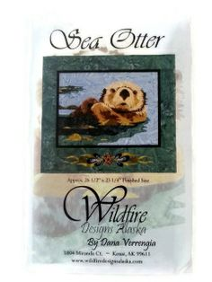 This Sea Otter Applique Quilt Pattern by Wildfire Designs Alaska was designed by Dana Verrengia. Sea Otters are famous for lazing on their back while eating sea urchins, and Dana does a magnificent job of capturing this image in applique.  Wildfire Designs Alaska patterns are designed for fusible applique, so I recommend that you use an Applique Pressing Sheet.  The pattern contains a layout guide, full size pattern pieces, and instructions.
