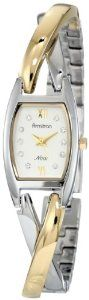 Armitron Women's 753865SVTT Swarovski Crystal NOW Two-Tone Crossover Bangle Bracelet Watch Armitron. $48.74. Sweep second hand. Gold-tone hour hands. Two-tone crossover bangle with adjustable links. Silver-tone dial with 10 Swarovski crystal hour markers. Gold-tone Roman numerals at 12-6. Save 25% Off!