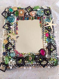 Jeweled mirror.Unique wall Decor  Home accent. Blinged mirror Wall mirror. Home…
