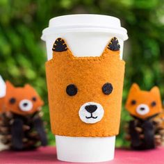 Keep your drink warm with this adorable coffee sleeve. You can either stitch the pieces of this cute fox cozy together using blanket stitches and running stitches or, if sewing isn't your thing, you can use fabric glue or a glue gun to assemble the pattern's pieces. Find the complete pattern below./