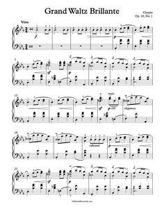 Free Piano Sheet Music – Waltz – Op. 18, No. 1 – Chopin