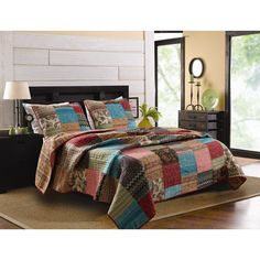 A pretty patchwork pattern is designed with multi-pattern fabric to give the New Bohemian quilt set a vintage-inspired look. Crafted with pure cotton, this machine washable transitional bedding will bring a burst of color to any bedroom decor.