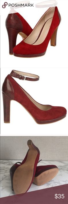 Sale!! FRANCO SARTO BURGUNDY SNAKESKIN PUMPS The Franco Sarto Breeze shoes feature a suede upper with a round toe. The man-made outsole lends lasting traction and wear. Worn twice. Small suede rubbing on outside of shoes from storage. See last pic Color options: Burgundy Width: Medium Style: Pumps Material: Regular suede upper and man-made outsole Heel height/type: 4.25-inches Sole: Man-made Franco Sarto Shoes Heels