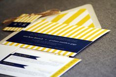 Preppy Chic Striped Wedding Invitation shown in Navy Blue, Yellow and White, Build-Your-Invite Collection - SAMPLE. $5.00, via Etsy.