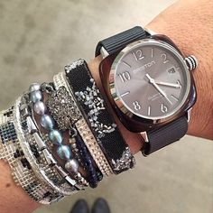 Photo : #mybriston #fashion #womenstyle #bracelets #watch #briston #clubmaster #tortoiseshelle #grey dial ©Kinselle