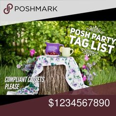 ⚜POSH PARTY TAG LIST⚜ 🎈🎉POSH PARTY TAG LIST🎉🎈  🛍Compliant shops only please🛍  ⤵️Tag your shop below⤵️ to be added to my list to be notified of Posh Parties and nomination for possible Host Picks from time to time. Remember to congratulate the Host and spread the word🗣.  🚩Tag you shop with -remove me- if you want to be removed from my list.🚩   ⚜Your closet MUST be Posh compliant so I can nominate you for a possible Host Pick⚜  🚫Private List - please do not copy🚫 Accessories
