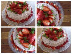Strawberry cake with cherries cream