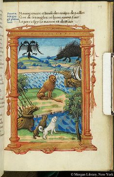 Allegory: League of Cambrai -- At top is two-headed eagle (representing Holy Roman Empire), and porcupine (representing Louis XII of France). Quills of the porcupine descend toward and transfix lion (representing Venice), seated on ground. Below are two dogs (representing Ferdinand of Aragon), beside oak tree (representing Pope Julius II). Figures are in landscape setting, in which is body of water with two ships. Scene is surrounded by architectural frame, with garland.