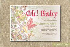 Vintage Flower Baby Shower Invitations - Printable Digital File. $15.00, via Etsy.