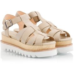 Logan - Beige vachetta leather multi-strap wooden & rubber flatform... ($165) ❤ liked on Polyvore featuring shoes, sandals, beige, flatform sandals, rubber shoes, beige shoes, rubber sandals and flatform shoes