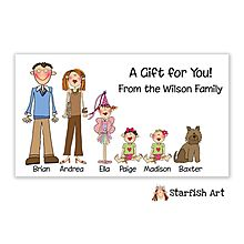 Custom People- pick out hair color, outfits-etc to match your family! Gift Cards From Little Angel Announcements