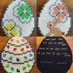 Så er der gækkebreve til bedsteforældrene #anjatakacs #perlerierp #perler #beads #påske #easter #hama #hamamidi #gækkebrev #gækgækgæk #forår