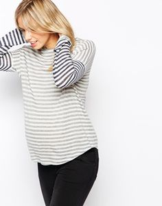 Enlarge ASOS Maternity Stripe Top with Curved Hem and Long Sleeves