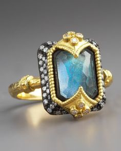 Do not usually wear gold, however, this piece is so beautiful, unique & whimsical, I must have it! It's like a crown! Dulcinea Labradorite Ring by Armenta at Neiman Marcus.